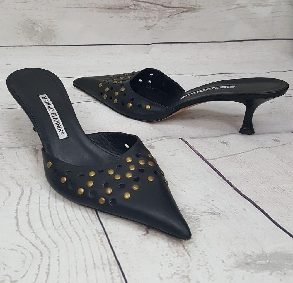 Manolo Blahnik Black Studded Perforated Pointed Toe Mule Kitten Heel 39 5 Us8 5 Manoloblahnik Mules Casual Kitten Heels Manolo Blahnik Heels