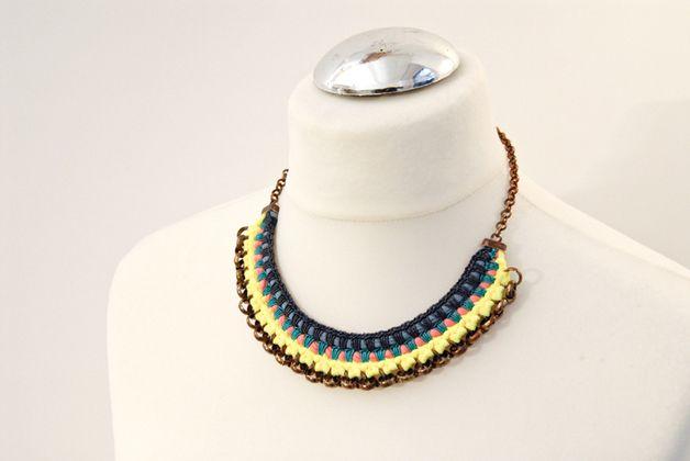 Statement Ketten - Statement Halskette Neon Gelb Color Blocking - ein Designerstück von gudbling bei DaWanda