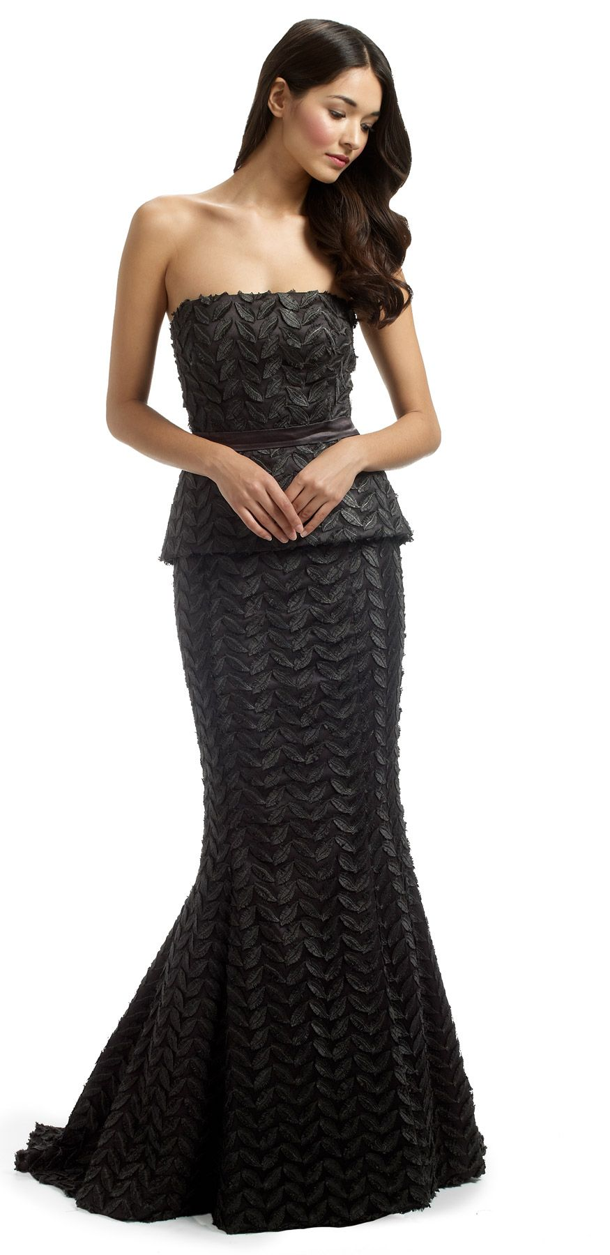 Ariella Stella Leaf Design Evening Dress - Black on black leaf embellishments cover this glamorous peplum fishtail dress. The strapless boned design moulds to the body creating a feminine silhouette, with a clinching satin waistband