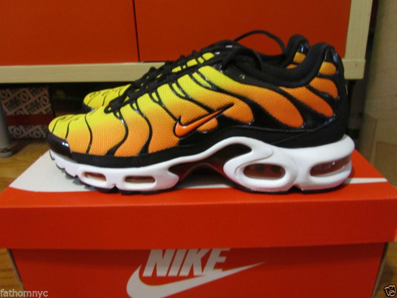 58aa7d3734 Nike Air Max Plus Tuned TN Tour Yellow Total Orange Black White 647315-700  8-13