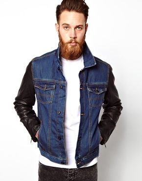ASOS Denim Jacket With Leather Look Sleeves | Men's Jackets ...