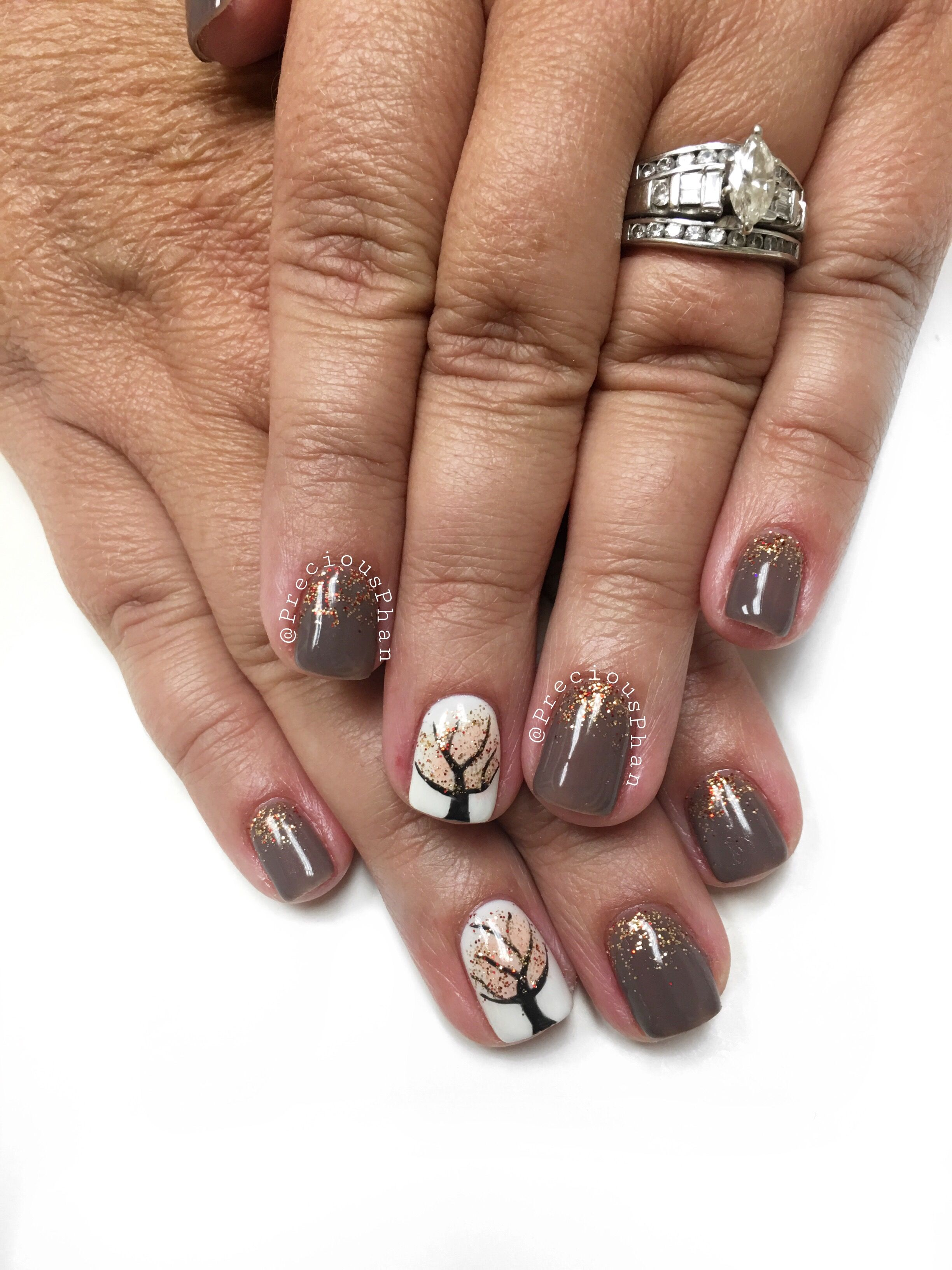 Fall Nails Brown Nails Tree Nails Preciousphan Fall Gel