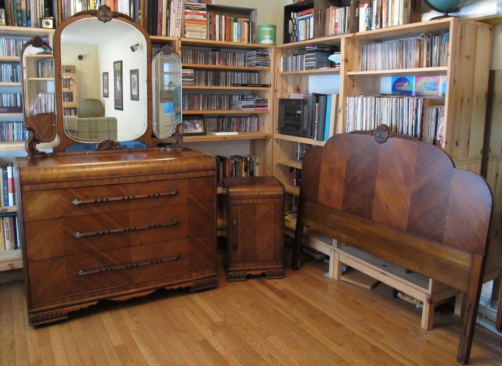 350 Start 3 Piece Art Deco Bedroom Set Dresser W Mirror Nightstand Headboard 1930s Full Ebay