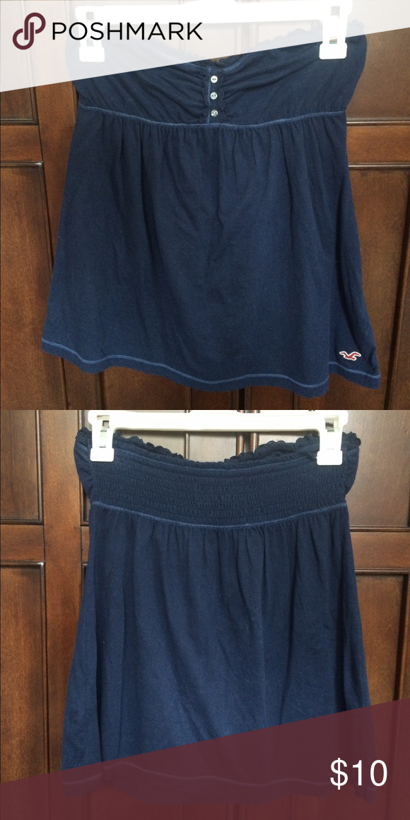 Hollister blue ruffle tube top Hollister blue ruffle tube top. Size medium. Excellent condition. Cheaper on Ⓜ️ercari Hollister Tops Blouses