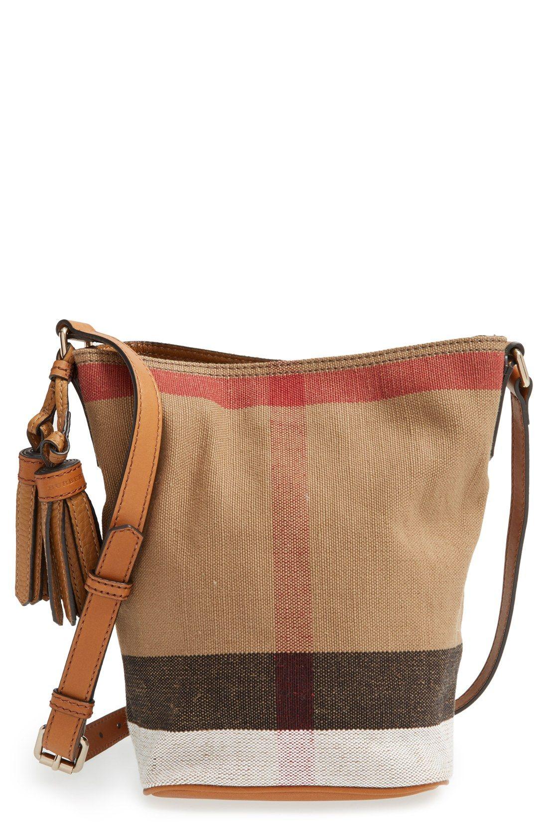 87a5b5f9892c Burberry Brit  Mini Ashby  Canvas Check Crossbody Bucket Bag ...