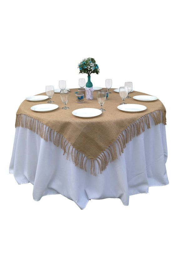 Country Home Decor 71 X Inch Rustic Tied Fringe Burlap Table Overlay Tablecloth