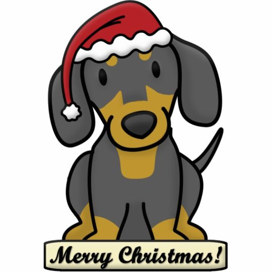 Cartoon Dachshund Christmas Ornament Black Tan Zazzle Com