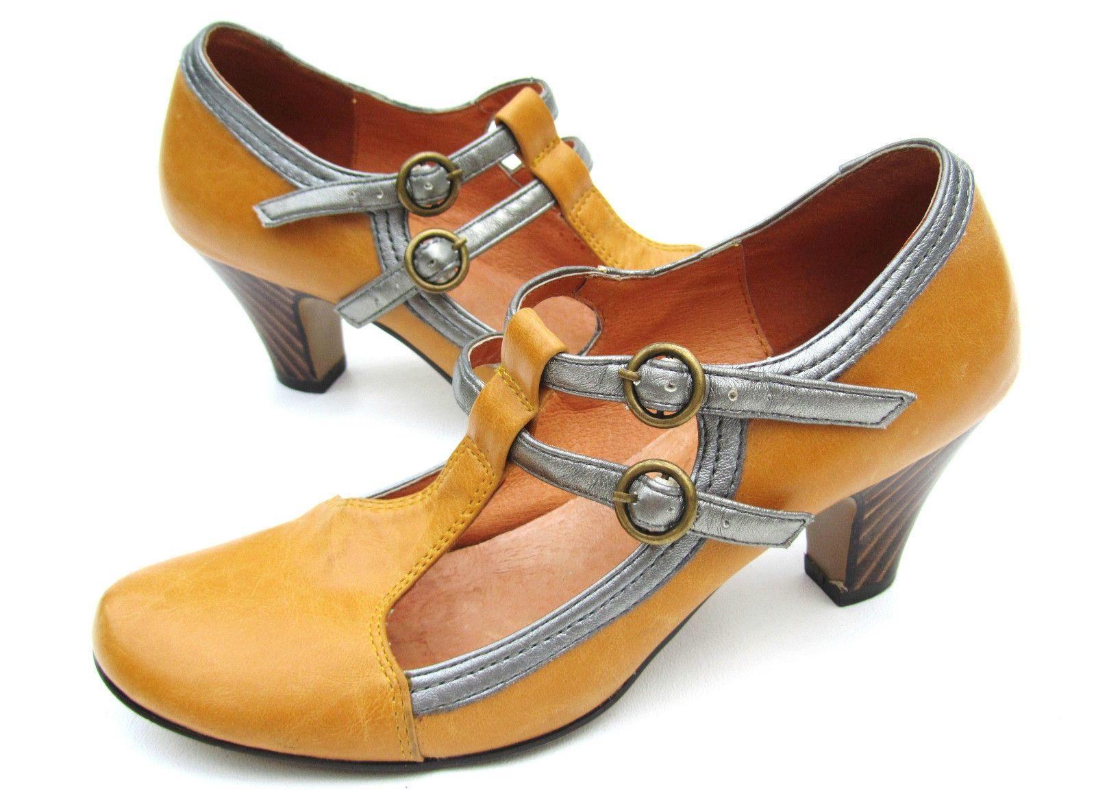 Navid O Nadia EU 37 US 6.5 Pumps Yellow T Strap Mary Jane Striped Heel Leather | eBay