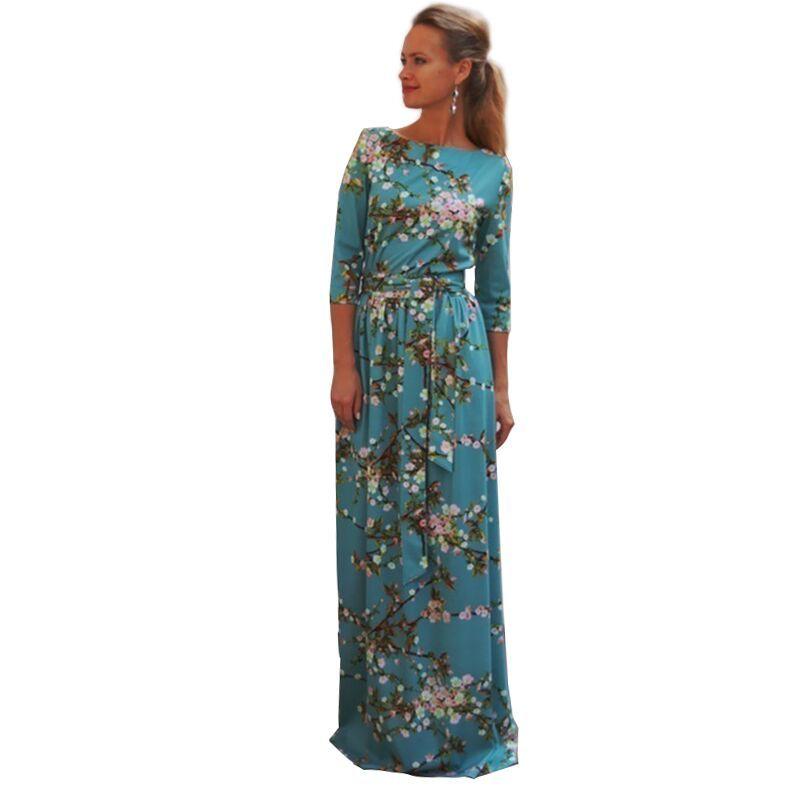 새로운 가을 2016 여성 맥시 플러스 사이즈 dress longdess 스카이 블루 three 분기 빈티지 꽃 파티 인쇄 긴 dress 코스프레 Longos