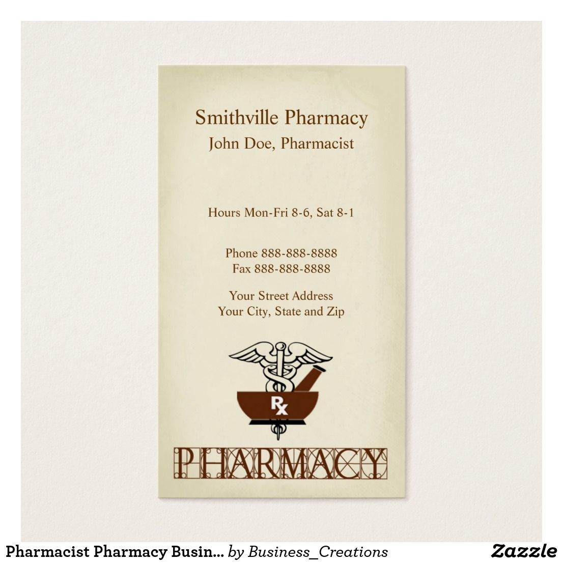 Pharmacist Pharmacy Business Card Custom Check out more business ...