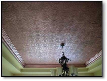 Faux Copper Ceiling Wallpaper Painted With Copper Paint And Finished With An Aged Patina Look Copper Ceiling Ceiling Home Decor
