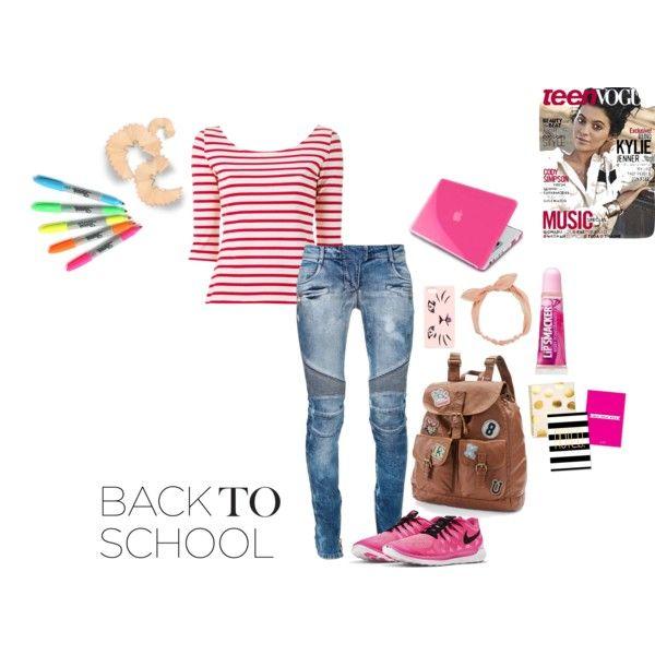 back to school outfit ideas by riyakolambkar on Polyvore featuring Yves Saint Laurent, Balmain, NIKE, Mudd, Arizona, Insten and Talula