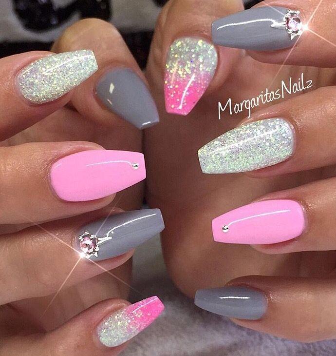 pink n gray nail designs pinterest nageldesign. Black Bedroom Furniture Sets. Home Design Ideas