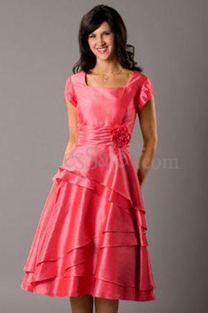 Watermelon Modest Bridesmaid Dresses