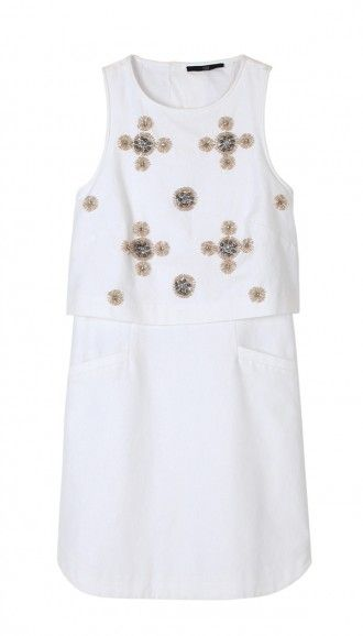 tibi SALE cluster beading dress