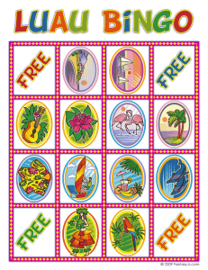 picture relating to Printable Luau Party Games known as Totally free printable Luau Bingo Playing cards! Get together Designs and Food items inside of