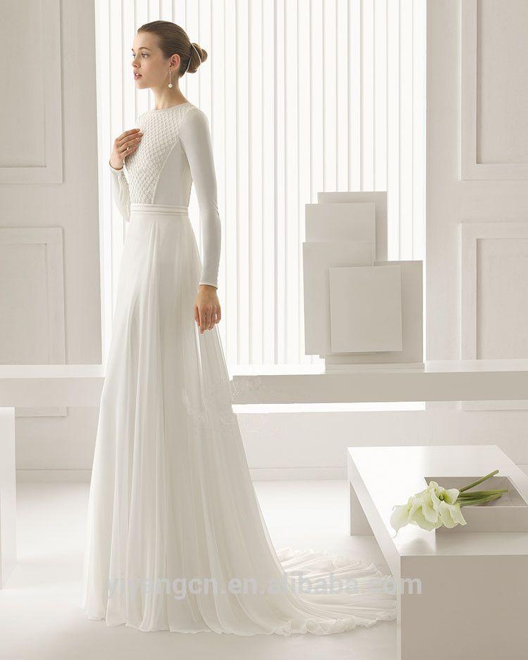 Simple Long Lace Wedding Dress Ssnopkx | My Fashion Studio | wedding ...