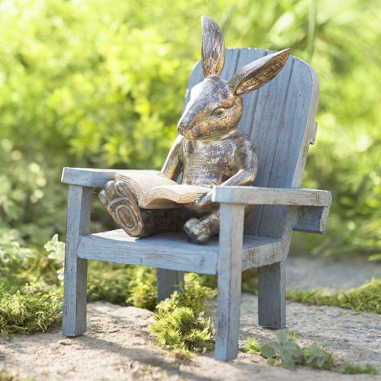 Reading Rabbit Garden Statue Outdoor Garden Statues Garden Statues Rabbit Garden