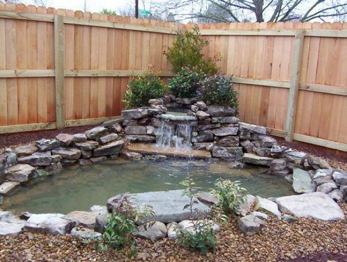 Corner Pond Waterfalls Backyard Small Backyard Ponds Pond Landscaping