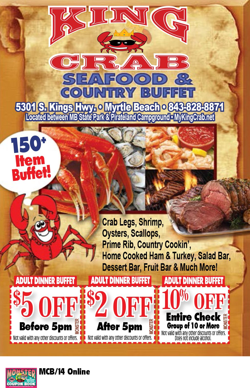 King Crab Seafood And Country Buffet Myrtle Beach Resorts