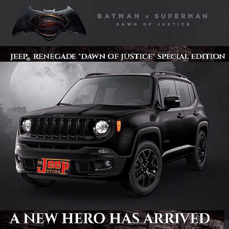 Batman Jeep Renegade Special Edition Featured In Batman V Superman Movie Jeeprenegade Jeeps Nj Newjersey Jerseyshore Monmou Jeep Renegade Jeep Jeep Gear