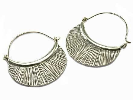 Hill Tribe Half Circle Sterling Silver Dangle Earrings