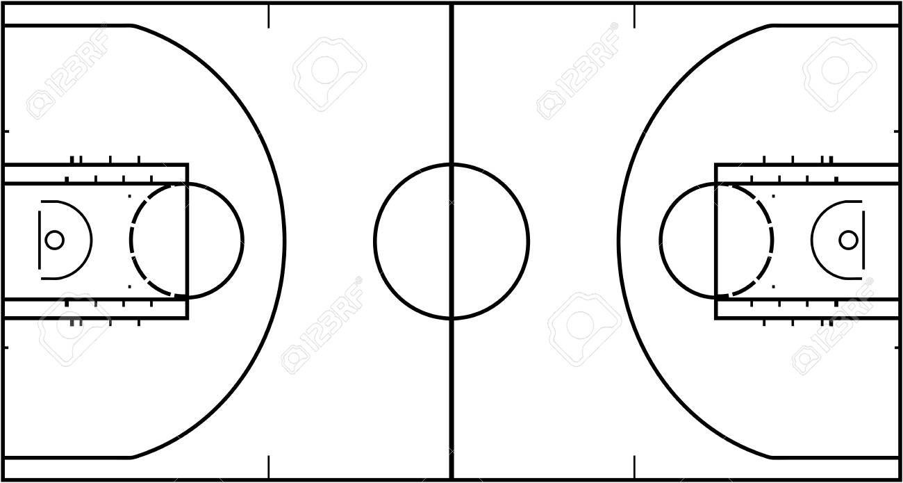 Basketball Court Isolated On White Background Top View Vector Illustration Affiliate Isolated White Flyer Design White Background Vector Illustration