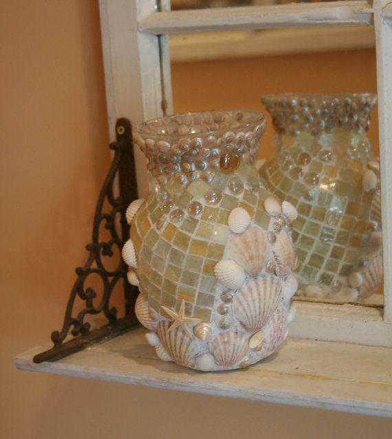 Coastal Shores Custom Mosaic Seashell Vase Mosaics Clay And Craft