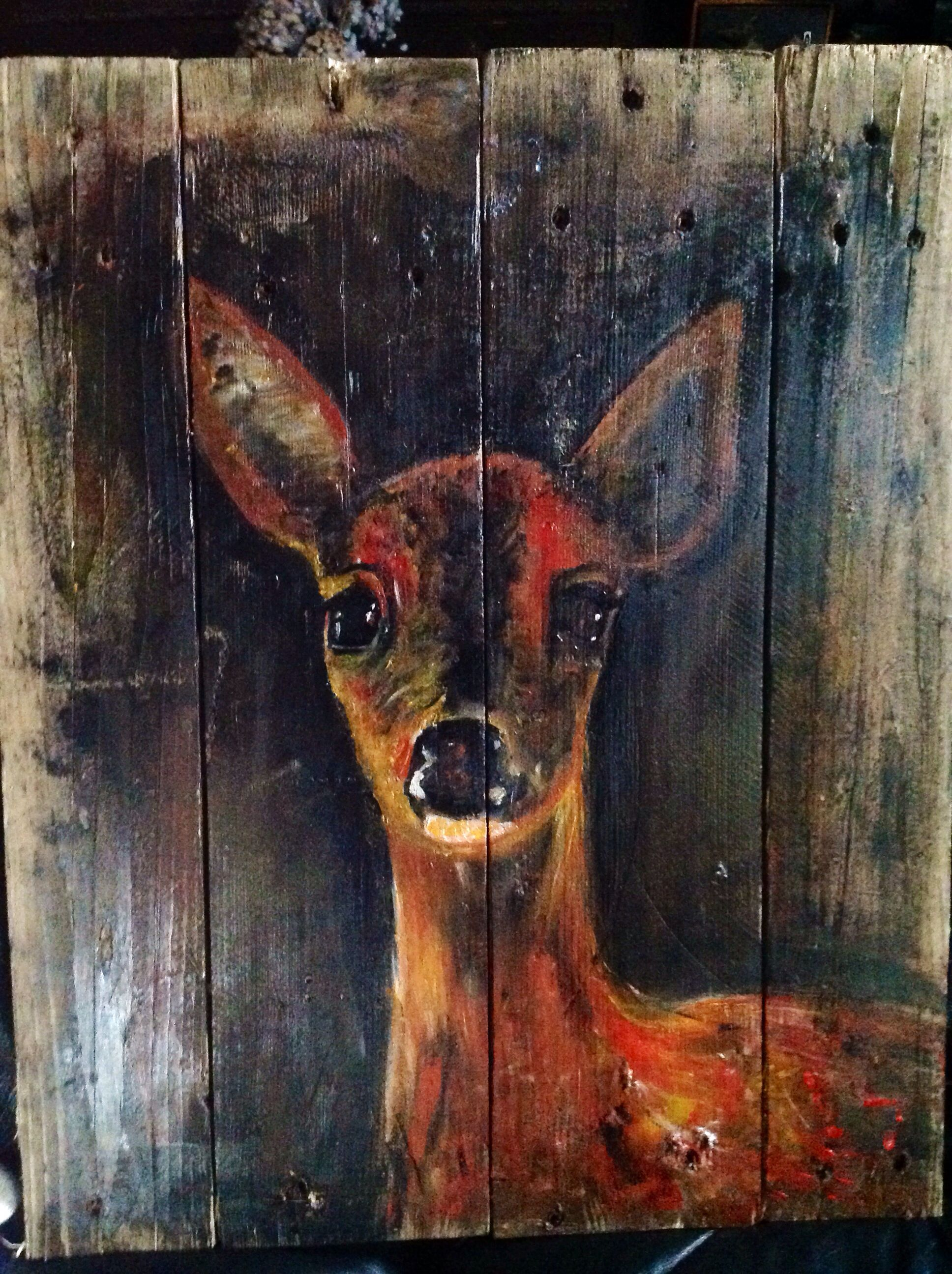 Deer On Wood Motive Zum Malen Malerei