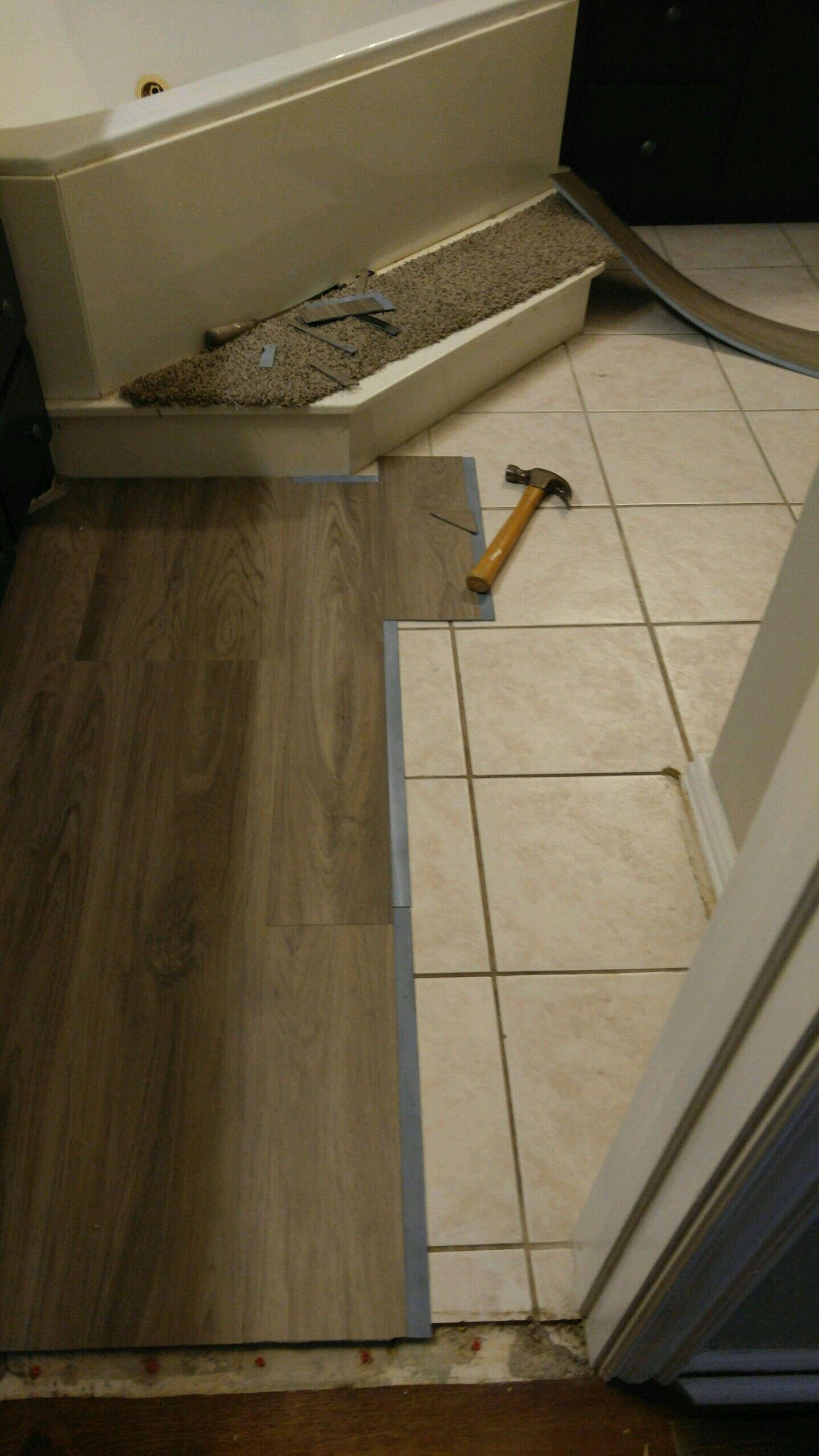 I did this myself, Vinyl plank flooring over tile | Floors ...