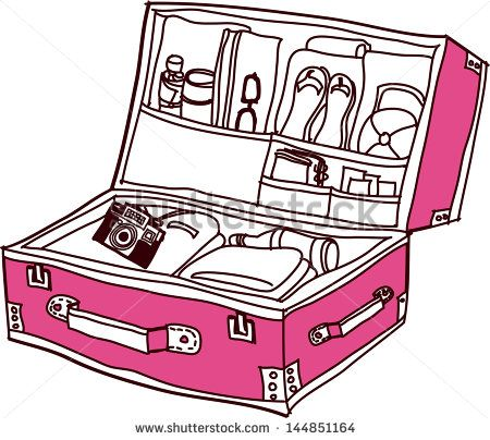 Vector Illustration Of An Open Suitcase Illyustracii Risunok