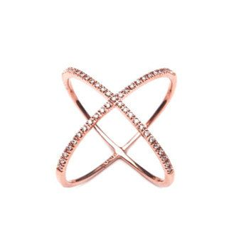 Modeschmuck gold ring  X Ring !! Cross Ring!! You will love this dainty Rose Gold X Ring ...