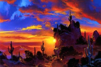 Sunset In Desert Hd Wallpaper Western Landscape Art Art Landscape Art
