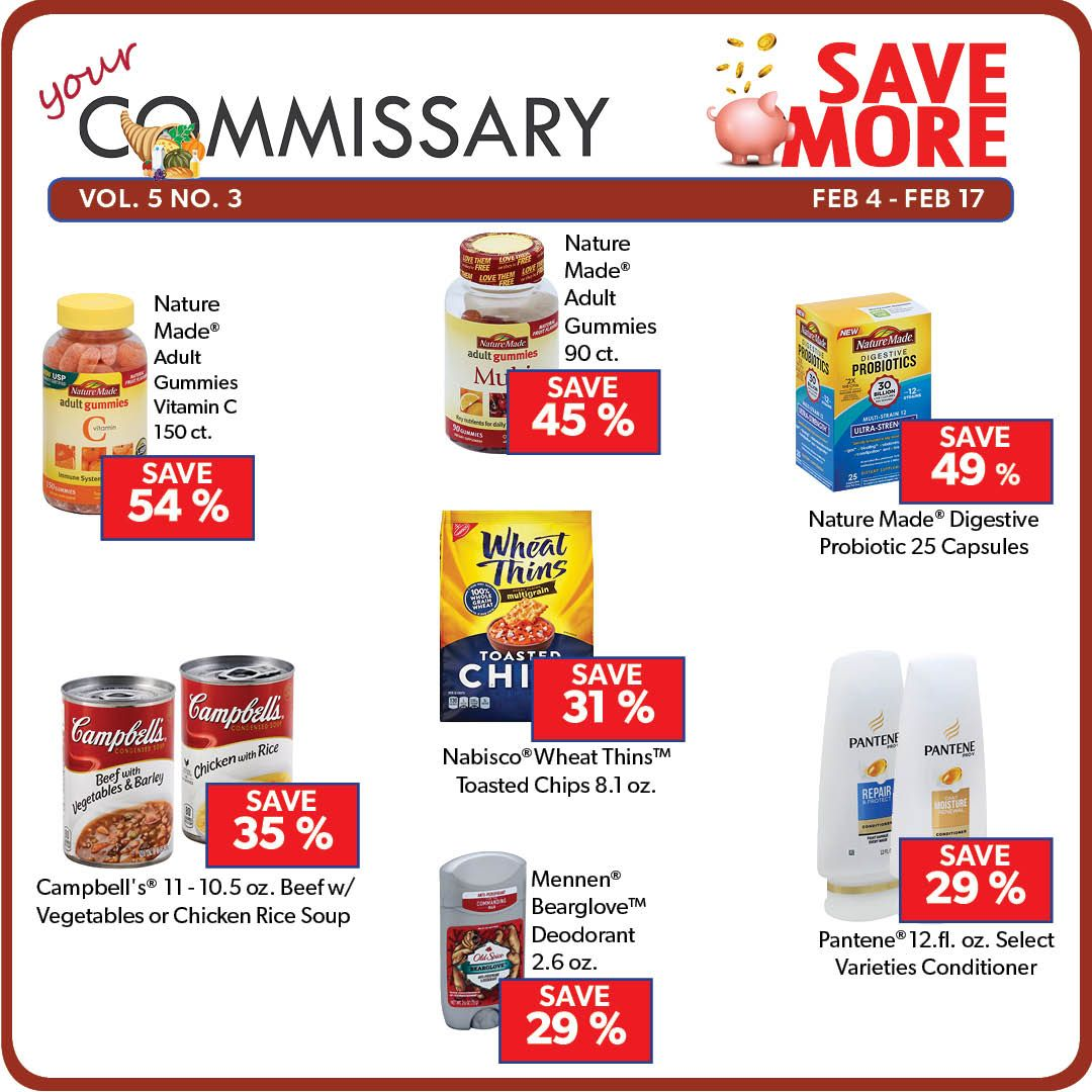 Save More on Selected Items Your Commissary