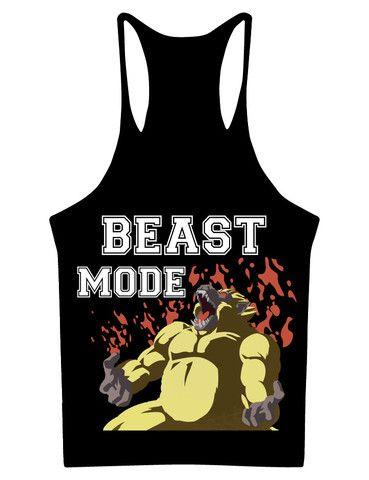 5b08baa451ccef Saiyan Ape Beast Mode Workout Stringer Tank Top