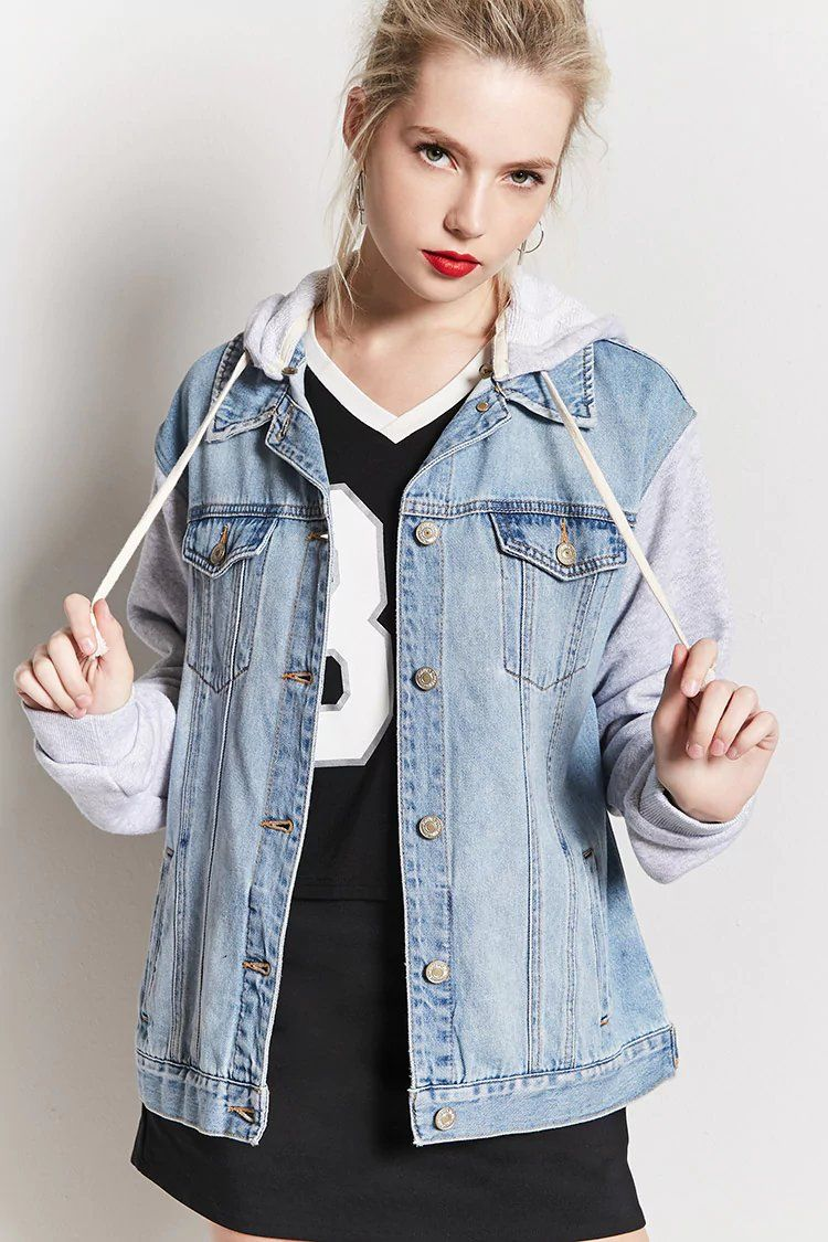 Product Name Denim Hoodie Combo Jacket Category Outerwear Jean Jackets Price 34 9 Fashion Denim Hoodie Clothes [ 1125 x 750 Pixel ]