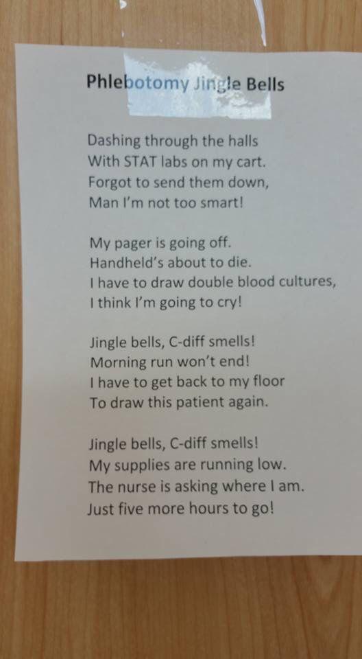 Phlebotomy jingle bells Phlebotomists ❤ Pinterest - medical assistant certificate