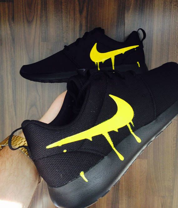f63dddf3705e Nike Roshe Triple Black with Custom Yellow Candy Drip Swoosh Paint ...