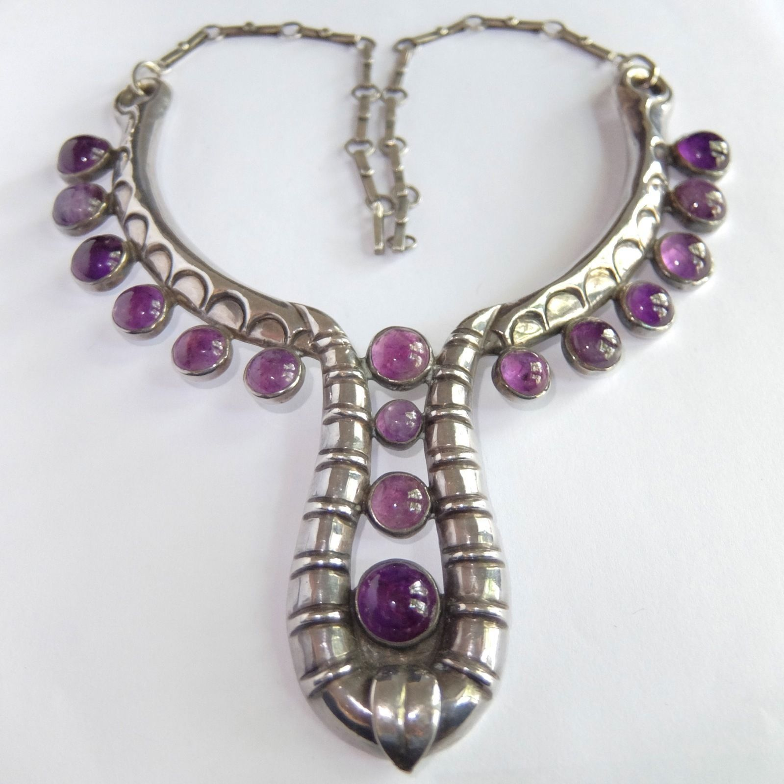 Rare Large Unusual Vintage Art Deco Mexico Sterling Silver Amethyst Necklace Vintage Silver Jewelry Mexican Silver Jewelry Jewelry Drawing