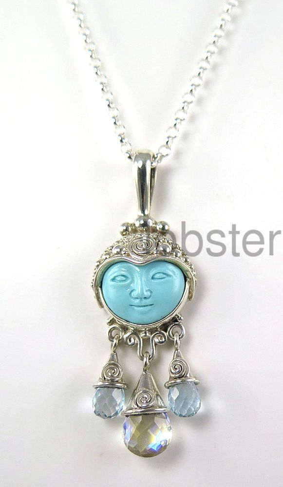 Offerings Sajen Sterling Silver Turquoise Double Bale Pendant