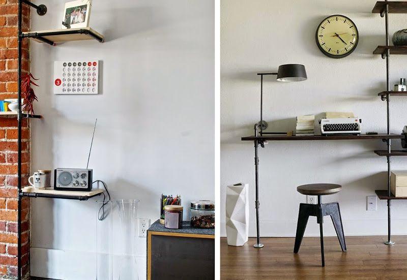 industrial look 26 stylische m bel aus rohrverbindern colourful living pinterest. Black Bedroom Furniture Sets. Home Design Ideas