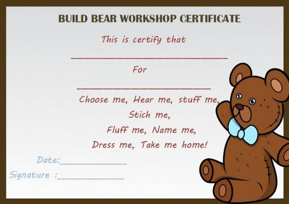 build bear workshop certificate build a bear certificate template pinterest certificate bears and template