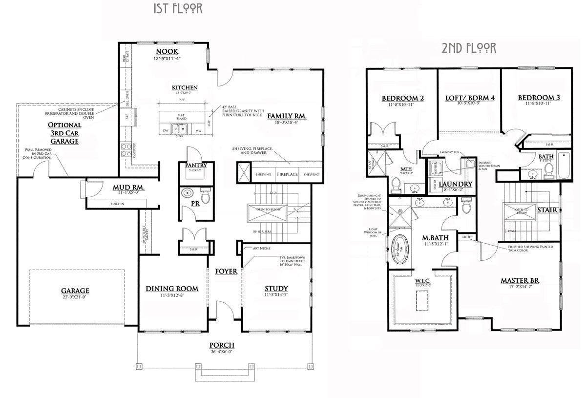 bungalow house floor plans large style homes arts and crafts ...