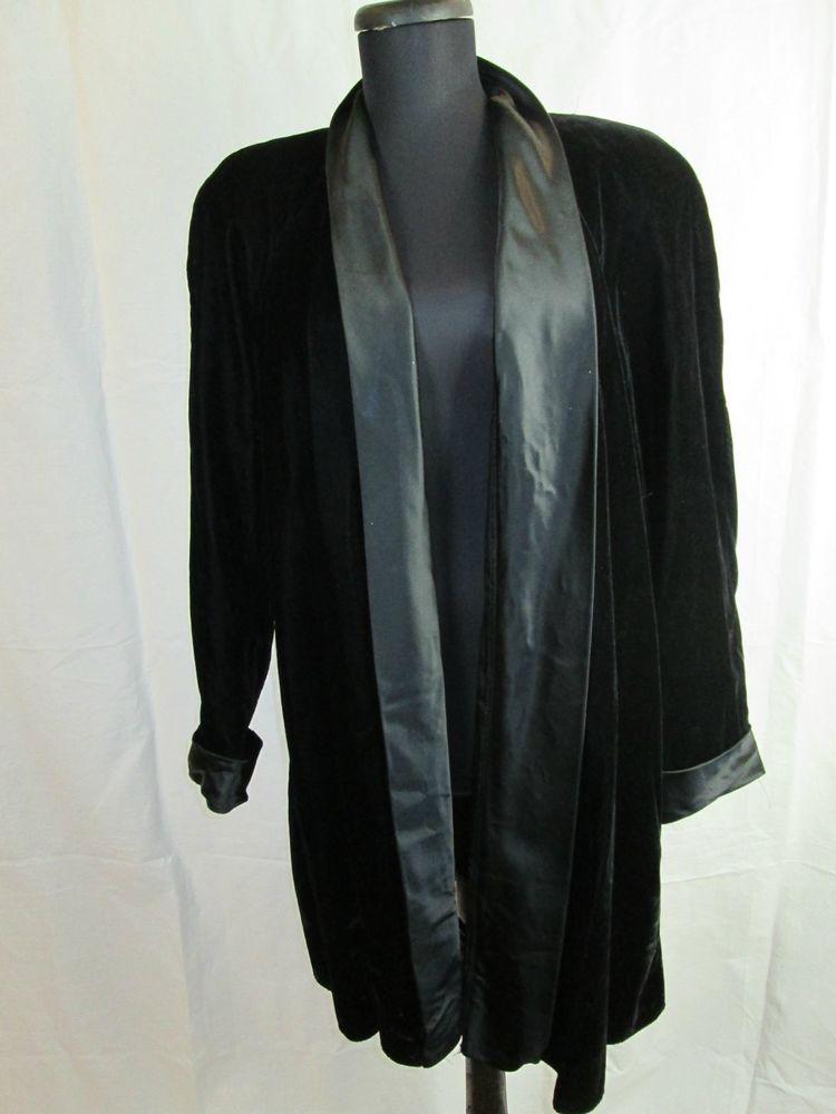 Vintage Patra Black Velvet and Satin Swing Coat Women's Jacket Size L #Patra #BasicCoat