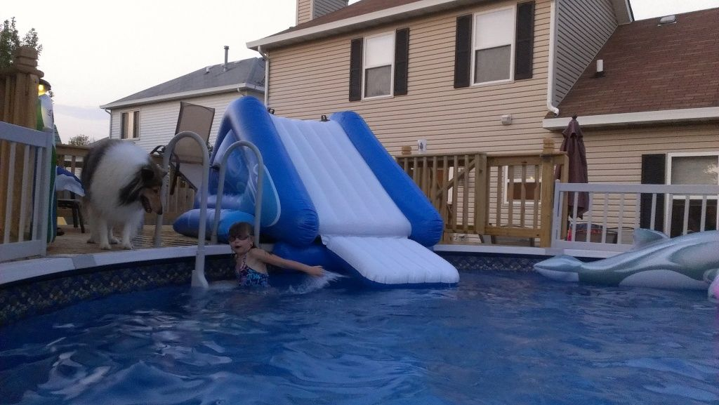 new abg pool llate last summer now deck build pics - Diy Above Ground Pool Slide