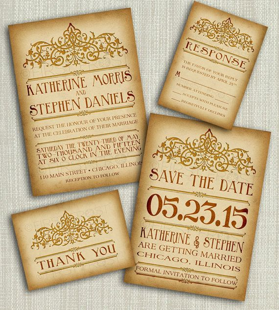 Vintage Wedding Invitations Printable Style Invitation Suite Diy 4 Pieces