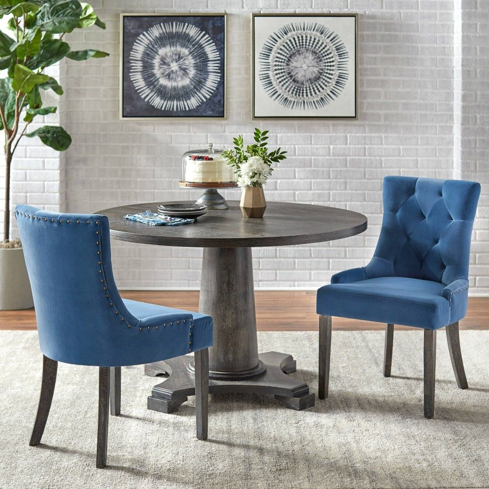 3pc Ariana Dining Set Blue Angelo Home In 2020 Dining Chairs Dining Room Small Home