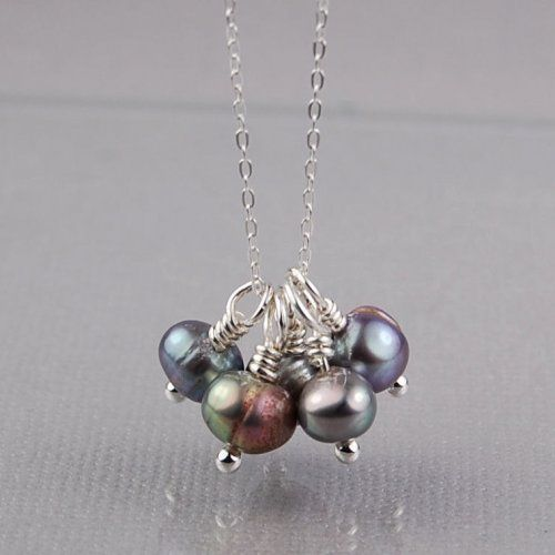 peacock_grey_freshwater_pearls_and_sterling_silver_wire_wrapped_cluster_necklace
