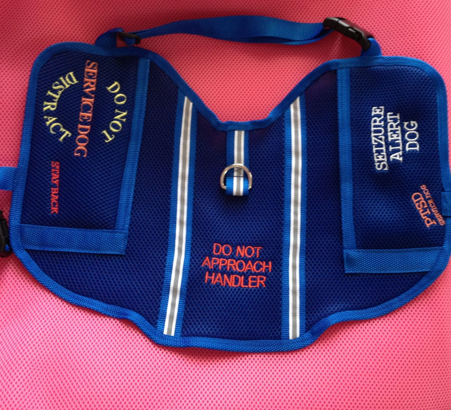 Handmade Service Dog Vest PTSD Seizure Alert Emotional Support Diabetic