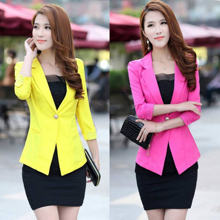 Aliexpress.com : Buy CC385# 4 Colors 2013 Autumn & Winter Women Suit Blazer FOLDABLE  women Clothes Suit One Button Shawl Cardigan Coat from Reliable women blazers suppliers on PENNYBUYING COM $13.75 - 14.55